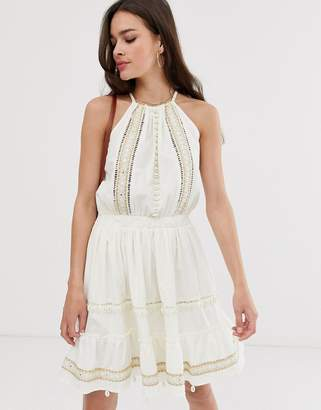 Asos Design DESIGN shell and mirror embroidered cami mini sundress