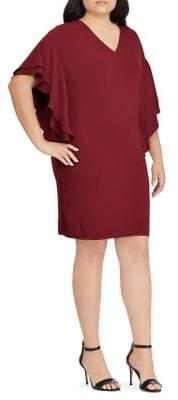 Lauren Ralph Lauren Plus Tiered Flutter-Sleeve Shift Dress