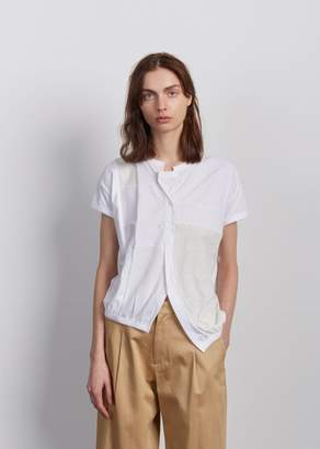 Y's Patchwork Short Sleeve Top White