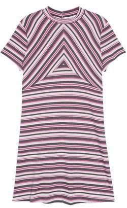 Love, Fire Pieced Stripe Mock Neck Dress