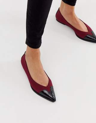 Asos Design DESIGN Legend western ballet flats in oxblood