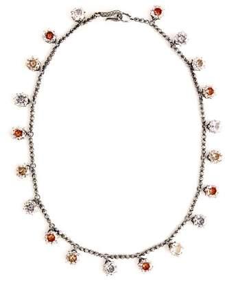 Bottega Veneta Cubic Zirconia Oxidised Sterling Silver Necklace - Womens - Silver