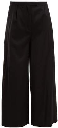 Osman Lupita Wide Leg Wool Blend Trousers - Womens - Black