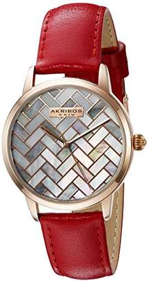 Akribos XXIV Women's Rose Gold-Tone Mother-of-Pearl Mosaic Dial with Glove Style Genuine Leather Strap Watch AK906RD