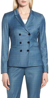 BOSS Jelaya Glencheck Double Breasted Suit Jacket