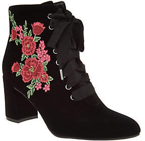 Isaac Mizrahi Live! Velvet Floral EmbroideredLace-Up Booties