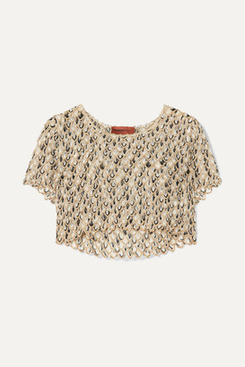Missoni Cropped Metallic Crochet-knit Top - Gold