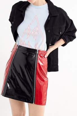 Lazy Oaf Colorblock Zip-Front Mini Skirt