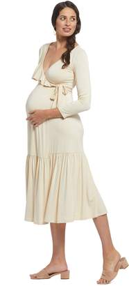 Maternity Nadine Wrap Dress - Cream,