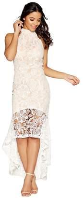 Quiz Cream And Nude Crochet High Neck Dress
