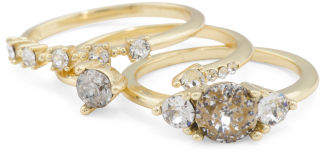 Set Of 3 Plated 925 Silver Swarovski Crystal Stacking Rings