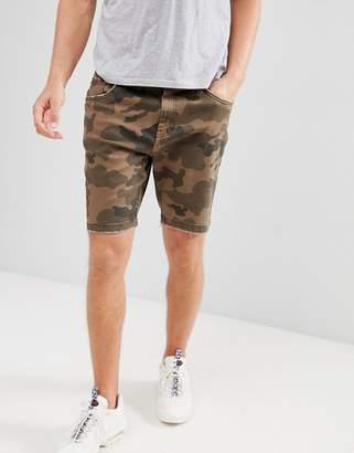 Bershka Slim Denim Shorts In Camo