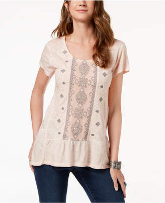 Style&Co. Style & Co Petite Embroidered Tiered Top