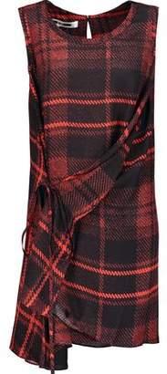 McQ Draped Checked Silk Crepe De Chine Mini Dress