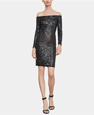 BCBGMAXAZRIA Eunice Embellished Off-The-Shoulder Dress