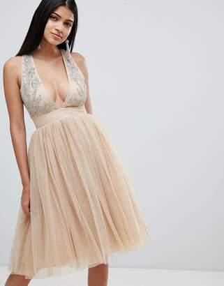 Rare London Embellished Plunge Tutu Dress