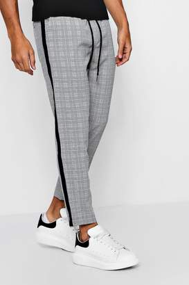 boohoo Check Smart Jogger With Tape Detail