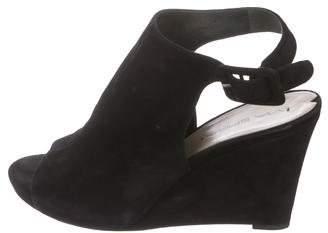 Via Spiga Suede Peep-Toe Wedge Sandals