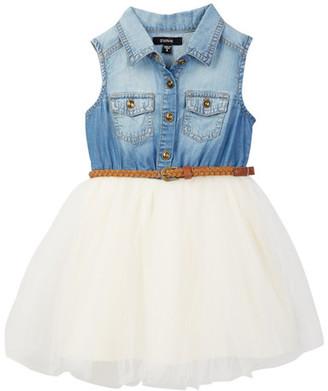 Zunie Belted Tencel Denim Tutu Dress (Little Girls) $58 thestylecure.com