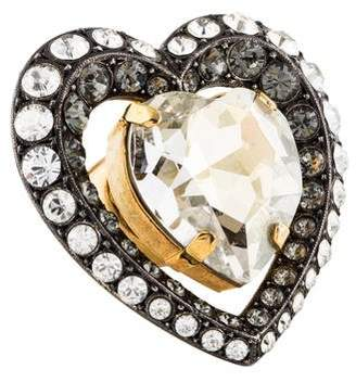 Lanvin Crystal Heart Cocktail Ring