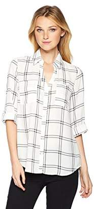 Amy Byer A. Byer Junior's Young Teen Button Down Shirt with Roll-Tab Sleeves