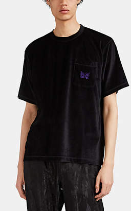 Needles Men's Butterfly-Embroidered Velour T-Shirt - Black