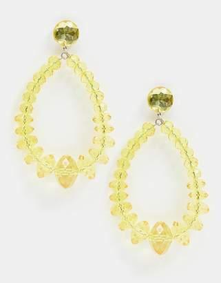 Missguided tear drop yellow statement earrings