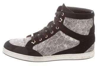 Jimmy Choo Glitter High-Top Sneakers