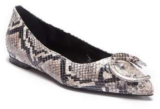Roberto Cavalli Pointed Toe Snake Embossed Flat
