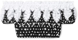 Miguelina Tessa Off-the-shoulder Cropped Polka-dot Crocheted Cotton-voile Top - Black