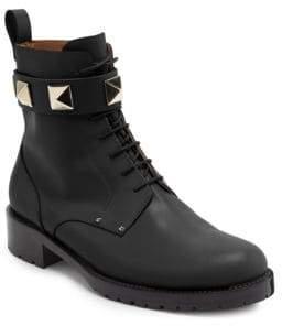 Valentino Leather Combat Boots