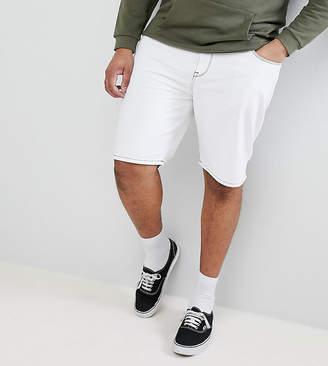Asos DESIGN Plus Denim Shorts In Slim White Contrast Stitch