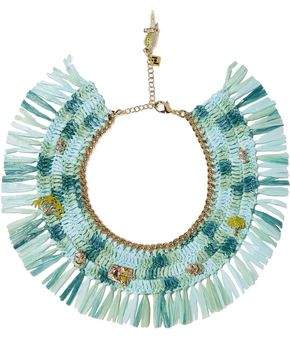 Rosantica Gold-Tone Raffia And Quartz Necklace