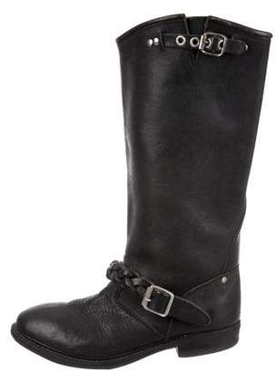 Golden Goose Round-Toe Leather Mid-Calf Boots