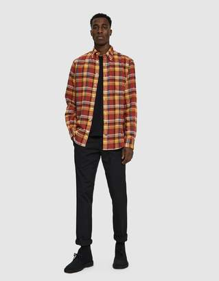 Gitman Brothers Utah Triple Yarn Flannel Shirt in Orange Plaid