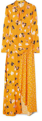 Self-Portrait Floral-print Stretch-crepe De Chine Maxi Dress - Yellow