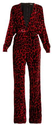 Balmain Leopard Print Wide Leg Velvet Jumpsuit - Womens - Black Red