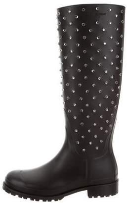 Saint Laurent Festival Crystal-Embellished Rain Boots