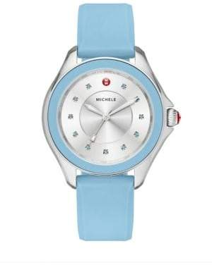 Michele Cape Blue Topaz, Stainless Steel & Silicone Strap Watch