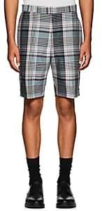 Thom Browne Men's Plaid Wool Madras Shorts-Navy