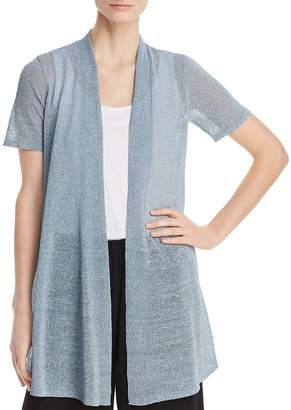 Eileen Fisher Petites Open-Front Semi-Sheer Shimmer Cardigan