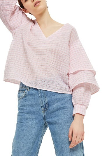 Topshop Petite Women's Topshop Layered Sleeve Gingham Top