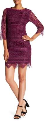 Trina Turk Geddes 3/4 Sleeve Lace Knit Dress