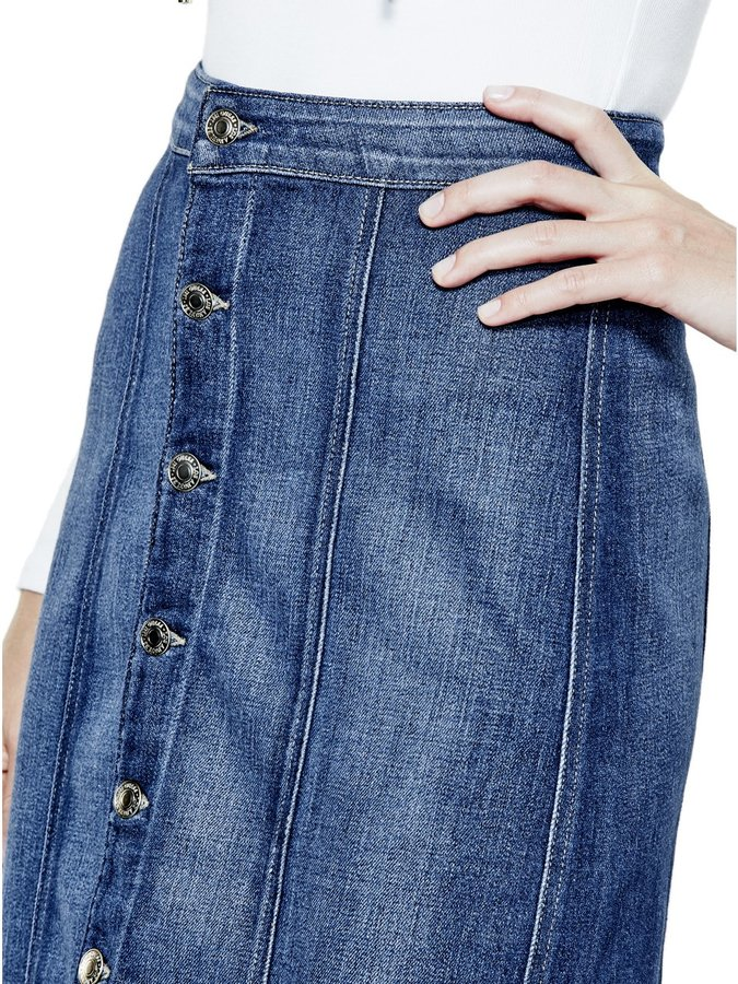 GUESS Button-Front Denim Midi Skirt in Trading Post Wash