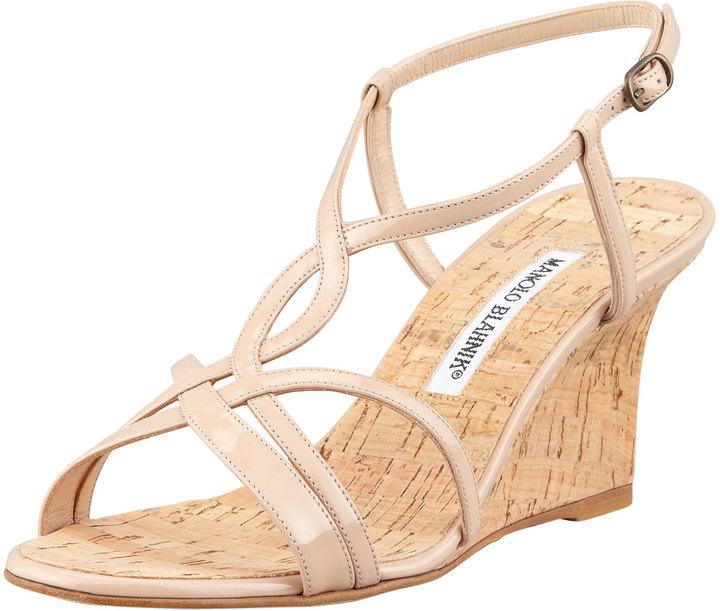 Manolo Blahnik Martina Patent Cork Wedge Sandal, Beige