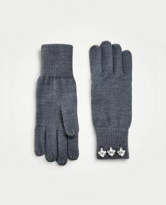 Ann Taylor Pearlized Crystal Embellished Knit Gloves