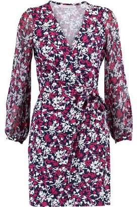 Diane von Furstenberg Printed Cotton And Silk-Blend Mini Wrap Dress