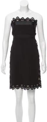 Philosophy di Alberta Ferretti Lace-Accented Strapless Dress