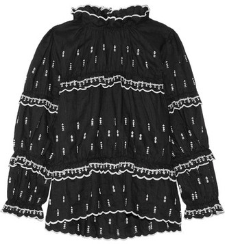 Étoile Isabel Marant - Daniela Embroidered Linen Top - Black $475 thestylecure.com
