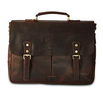 BRASS TACKS Leathercraft Men's Heavy Duty Canvas Genuine Leather Vintage Buckle Strap Briefcase Messenger Bag